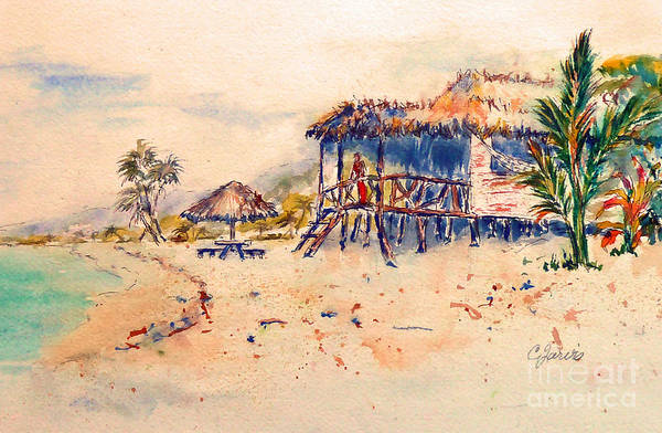 Painting - Tropical  Beach Hut by Carolyn Jarvis