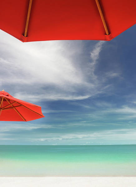 Tropical Beach With Sun Umbrellas Xxxl Art Print