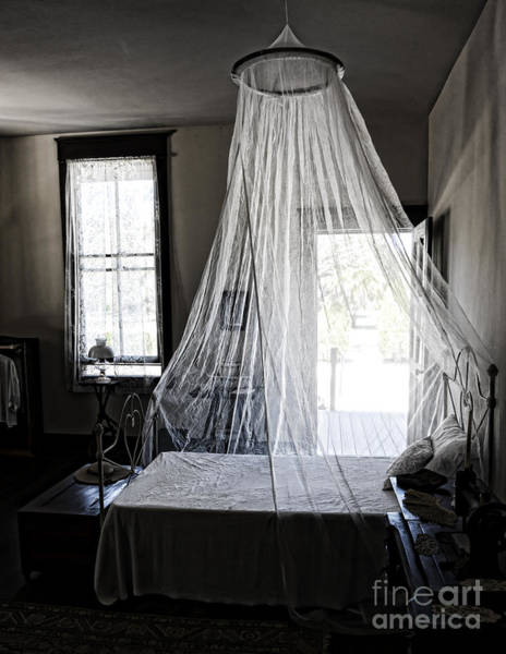 Wall Art - Photograph - Bed With Mosquito Net At Koreshan State Historic Site In Florida by William Kuta