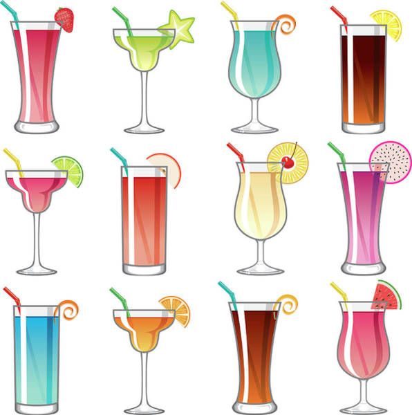 Pineapples Digital Art - Tropical Cocktail Glass Icons Set by Bortonia