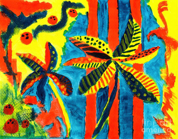 Painting - Tropical Coconut Trees With Polka Dots And Stripes by Beverly Claire Kaiya