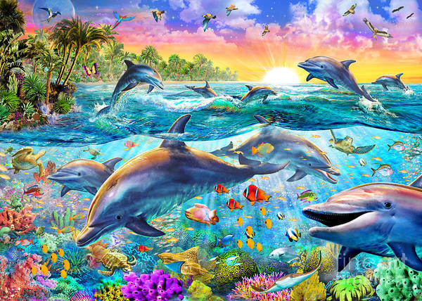 Puzzle Digital Art - Tropical Dolphins by MGL Meiklejohn Graphics Licensing