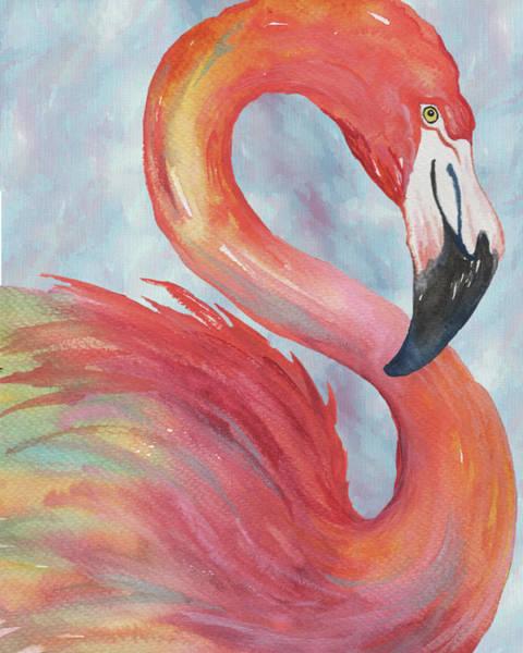 Flamingo Watercolor Painting - Tropical Flamingo by Elizabeth Medley