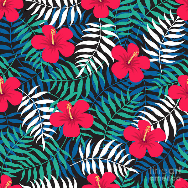 Printmaking Wall Art - Digital Art - Tropical Floral Seamless Pattern With by Ekaterina Bedoeva