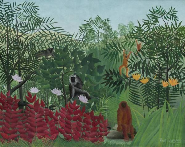 Monkey Painting - Tropical Forest With Monkeys by Henri J F Rousseau