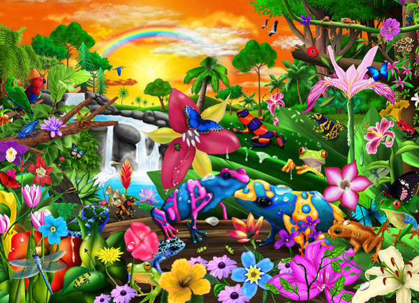 Wall Art - Painting - Tropical Frogs by MGL Meiklejohn Graphics Licensing