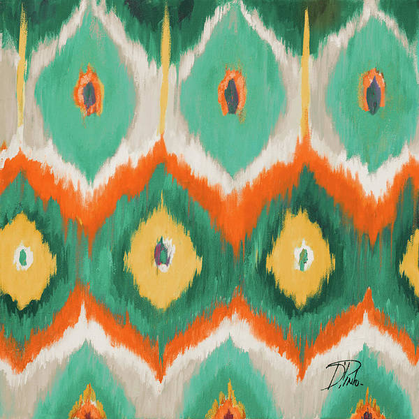 Circle Painting - Tropical Ikat II by Patricia Pinto