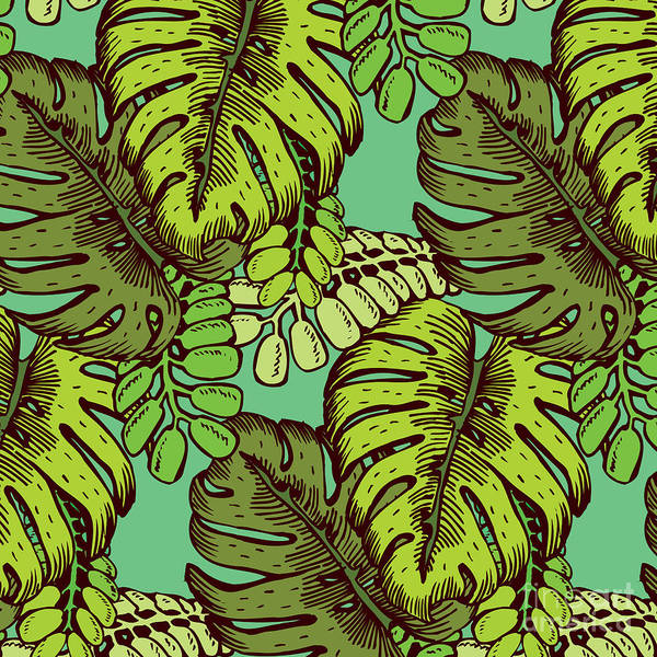 Natural Digital Art - Tropical Leaves Pattern by Tom And Kwikki