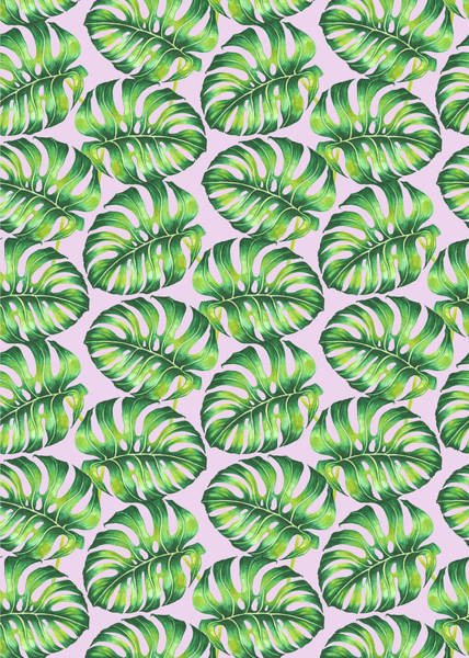 Wall Art - Painting - Tropical Monstera Leaf Repeat Watercolour On Pink by MGL Meiklejohn Graphics Licensing