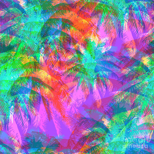 Plant Digital Art - Tropical Pattern Depicting Pink And by Yulianas