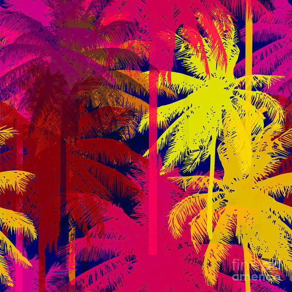 Leaf Digital Art - Tropical Seamless Pattern Depicting by Yulianas