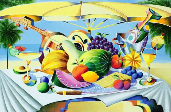 Champagne Painting - Tropical Still Life by Andrew Hewkin