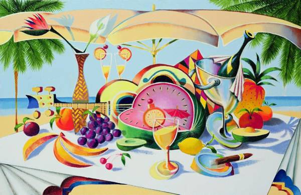 Champagne Painting - Tropical Still Life For A Cuban Cubist by Andrew Hewkin