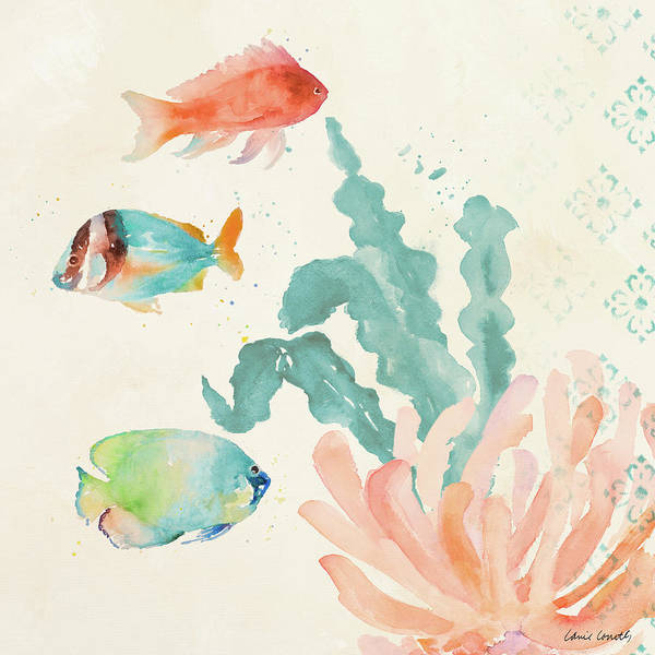 Wall Art - Painting - Tropical Teal Coral Medley I by Lanie Loreth