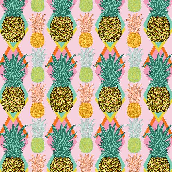 Wall Art - Painting - Tropical Vector Pineapple Retro by MGL Meiklejohn Graphics Licensing