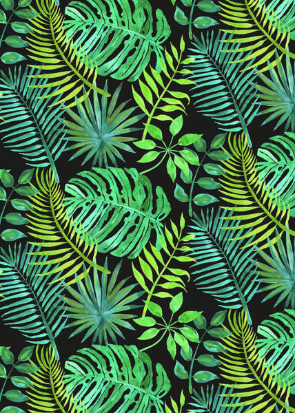 Wall Art - Painting - Tropical Watercolours Multi Leaves Design Black by MGL Meiklejohn Graphics Licensing