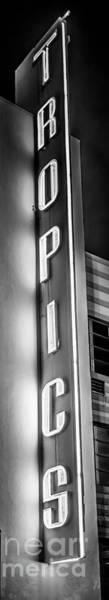 Wall Art - Photograph - Tropics Neon Sign Art Deco District Sobe Miami - Black And White by Ian Monk