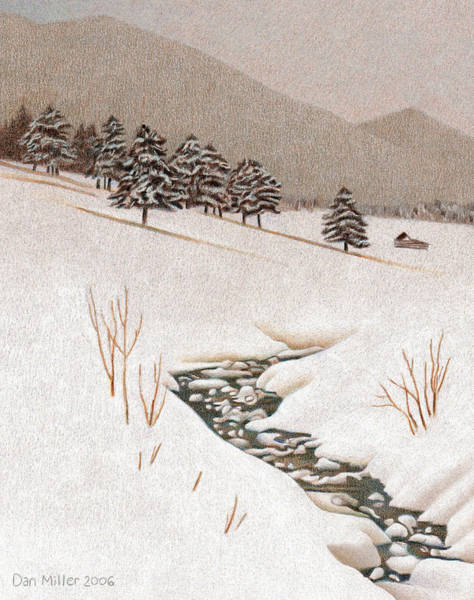 Evergreen Trees Drawing - Troublesome Creek by Dan Miller