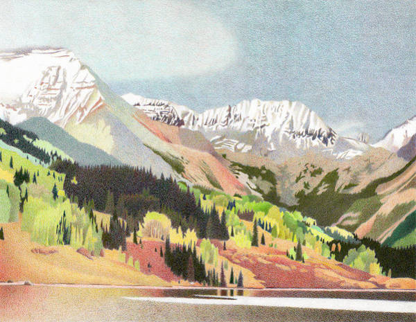 Evergreen Trees Drawing - Trout Lake Colorado by Dan Miller