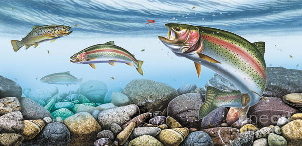 Painting - Trout Stream by JQ Licensing