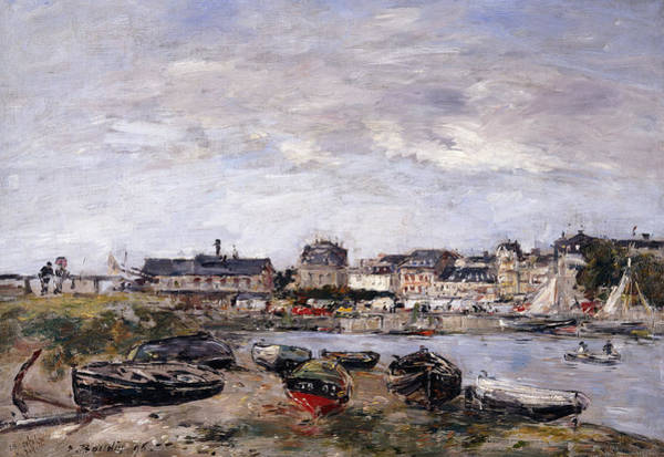 Impressionistic Sailboats Painting - Trouville View Toward Deauville On Market Day by Eugene Louis Boudin