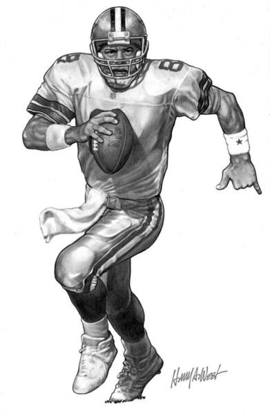 Nfl Drawing - Troy Aikman by Harry West