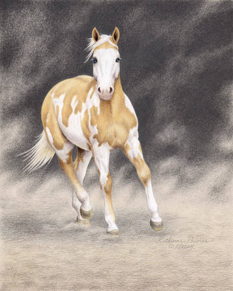 Equine Drawing - Tru King's Gold by Katherine Plumer