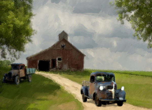 Grey Skies Wall Art - Painting - Trucks And Barn by Jack Zulli