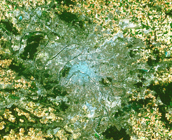 Wall Art - Photograph - True-colour Satellite Image Of Paris by Planetobserver/science Photo Library