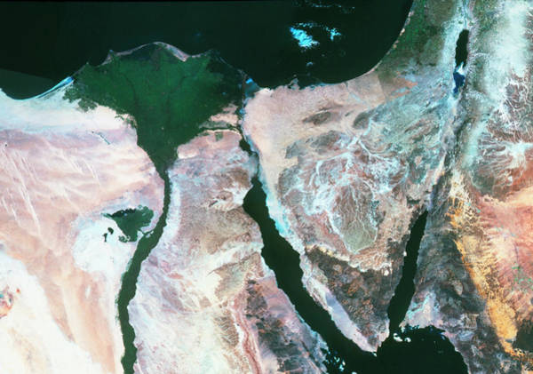 True-colour Satellite Image Of The Nile Delta Art Print
