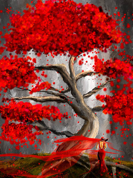 Wall Art - Painting - True Love Waits - Red And Gray Art by Lourry Legarde