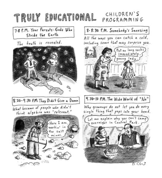 Options Wall Art - Drawing - Truly Educational Children's Programming by Roz Chast