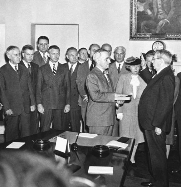 Cabinet Photograph - Truman Becomes President by Underwood Archives