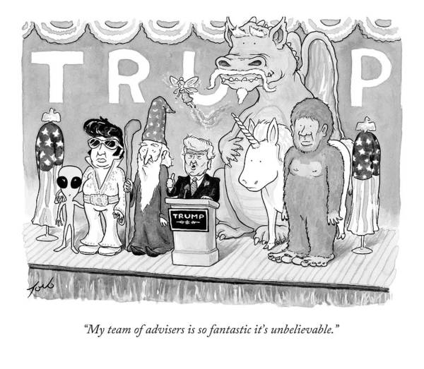 Team Drawing - Trump Giving A Speech by Tom Toro