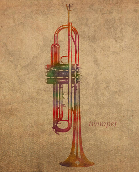Trumpet Mixed Media - Trumpet Brass Instrument Watercolor Portrait On Worn Canvas by Design Turnpike