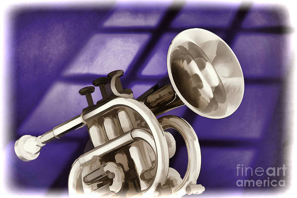 Marching Band Painting - Trumpet Cornet Painting In Colors Purple Blue 3149.02 by M K Miller