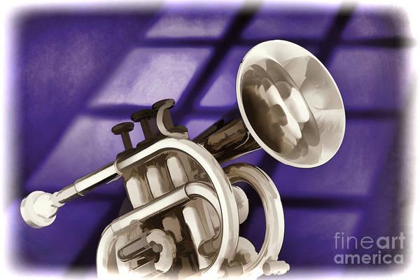 Painting - Trumpet Cornet Painting In Colors Purple Blue 3149.02 by M K Miller