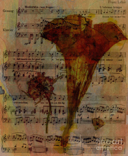 Trumpet Mixed Media - 10363 Trumpet Flower On Music Sheet by Colin Hunt
