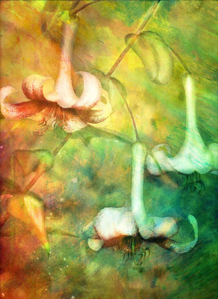 Magic Realism Painting - Trumpet Lilies In A Magical Forest by Georgiana Romanovna