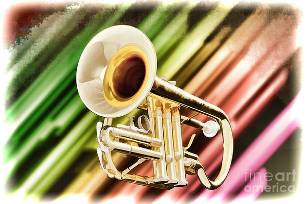 Painting - Trumpet Music Instrument Painting In Color 3223.02 by M K Miller