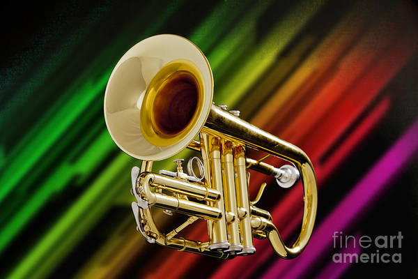 Photograph - Trumpet Music Instrument Picture In Color 3224.02 by M K Miller