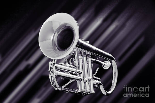 Photograph - Trumpet Music Instrument Picture In Sepia 3224.01 by M K Miller