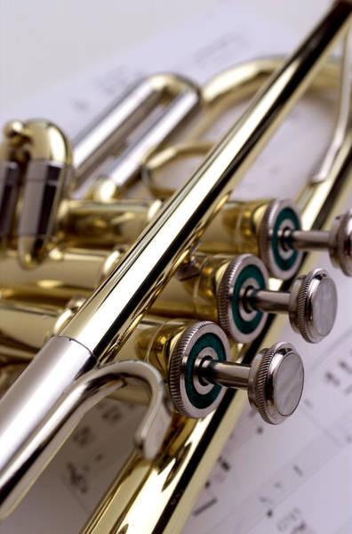 Trumpet Photograph - Trumpet On Music II by Jon Neidert