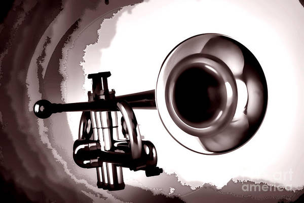 Photograph - Trumpet Painting In Black And White Sepia 3148.01 by M K Miller