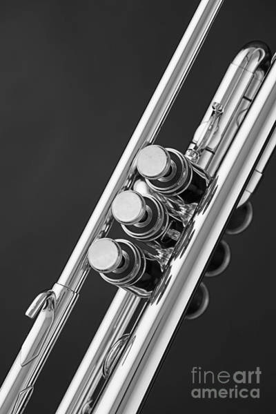 Photograph - Trumpet Valves In Black And White Sepia 3017.01 by M K Miller