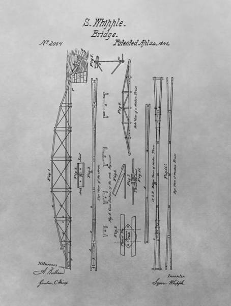 Ohio River Drawing - Truss Bridge Patent Drawing by Dan Sproul