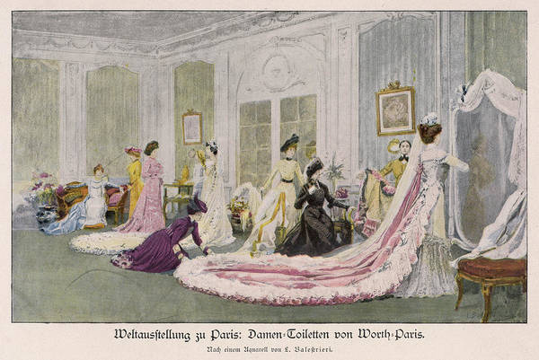 Wall Art - Drawing - Trying On A Party Dress  Chez Maison by Mary Evans Picture Library