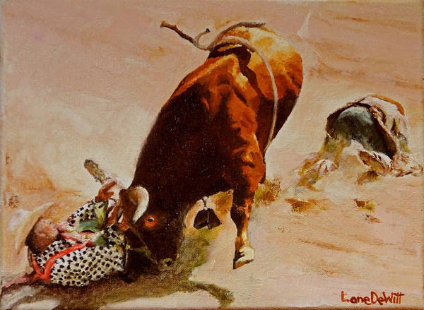 Prca Wall Art - Painting - Trying To Stick A Horn On Him by Lane DeWitt