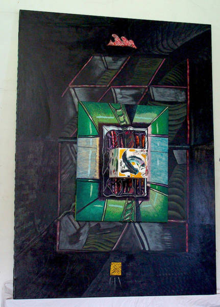 Constructivism Painting - Tryptych In Relief 3 by Al Goldfarb
