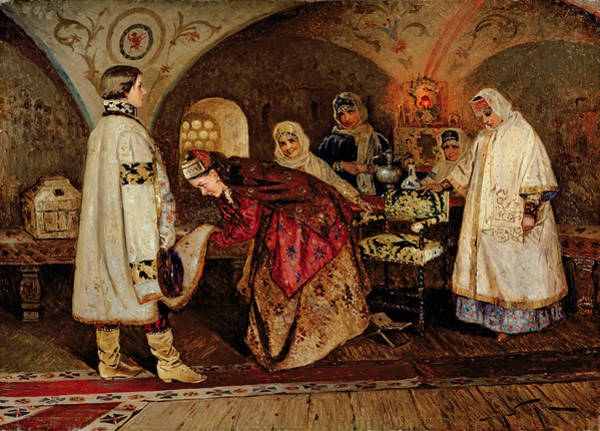 Lady In Waiting Painting - Tsar Alexei Mikhailovich Meeting His Bride, Maria Miloslavasky by Mikhail Vasilievich Nesterov